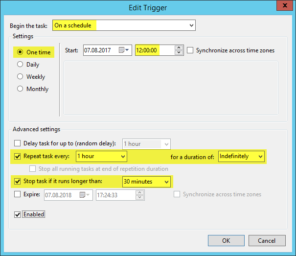 Scheduled Task OneDrive Sync - Trigger