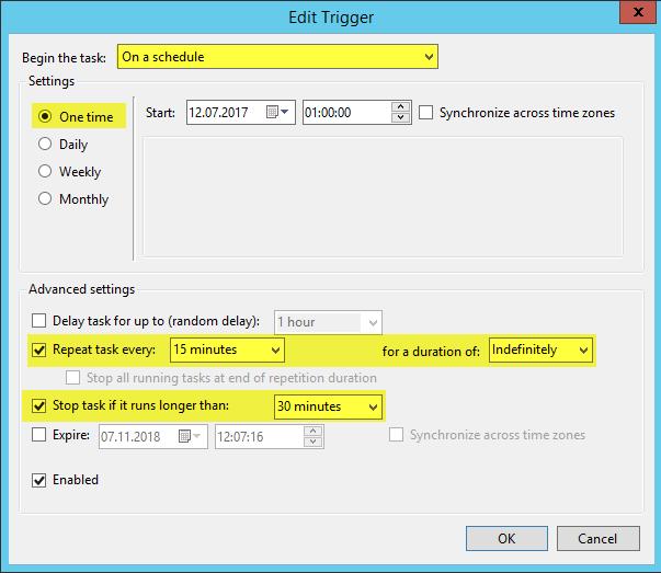Scheduled Task Azure File Share - Trigger